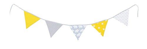 Guirnalda de banderines de ULLENBOOM ® con elefantes amarillo (guirnalda de tela:...