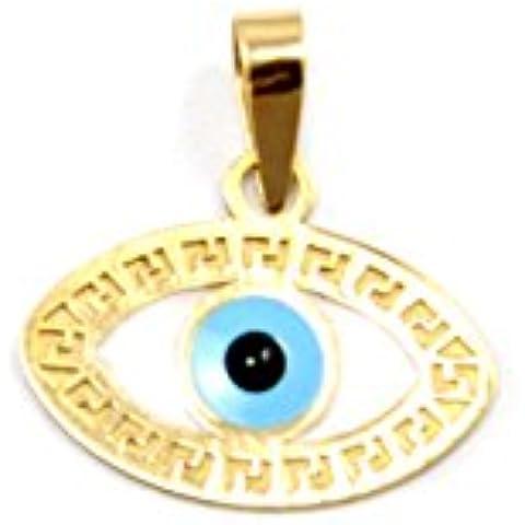 14K oro amarillo esmalte de mal de ojo colgante Charm 04mm