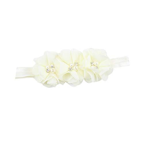 Scrolor Schöne Haarband baby Mädchen Haarschmuck Perlen Blumen Muster Elastische Stirnbänder für Baby Fotografie(Beige,free) -