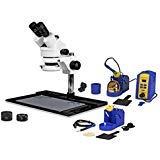 Vision Scientific VS-10FZ-IFR07-SD1 Trinocular Stereo Zoom 7x-45x Microscope, Hakko Single Port Solder Station FX-951 and Micro-Soldering Kit Fm-2032, 144-LED Light, Cell Phone Repair Platform