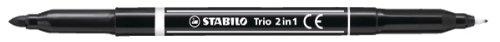 Stabilo - Pennarello a doppia punta Trio 2-in-1, tratto 0,5 mm - 2,0 mm, confezione da 10 pennarelli, nero