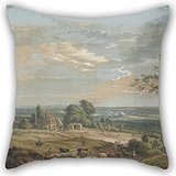 Elegancebeauty Oil Painting Paul Sandby - A Distant View Of Maidstone, From Lower Bell Inn, Boxley Hill Throw Cushion Covers 16 X 16 Inches / 40 By 40 Cm For Teens,shop,dinning Room,wedding,play Ro - Bell Hill