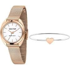 Sector No Limits R3253518515 Montre pour Femme, Collection 955, en Acier, PVD Or Rose et Bracelet