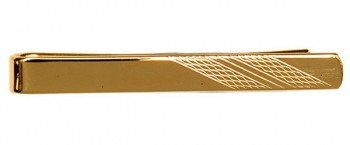 Gold Plated Tie Slide With Barley Design on End