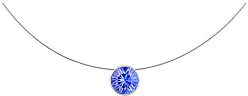 petra kupfer Kurze Damen Kette Anhänger Schwebender Stein Echter Swarovski Kristall lila stah1-sapphire (Perlen Blaue Halskette)
