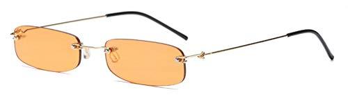 MINGMOU Schmale Sonnenbrille Männer Randlose SommerRot Blau Schwarz Rechteckige Sonnenbrille Für Frauen Kleines Gesicht Heißer, 4