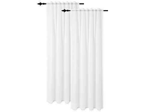 npluseins Doppelpack - Vorhang mit verdeckten Schlaufen und Gardinenband - unifarben und halbtransparent - in 2 Farben, weiß
