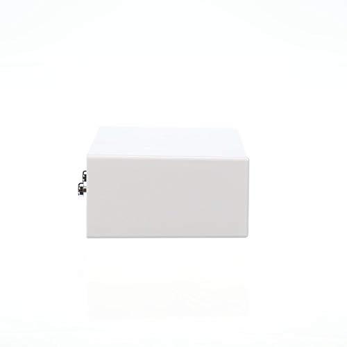 mDesign boite de rangement cuisine avec 3 tiroirs - casier de rangement pour sachets de thé, tisane, infusion, dosette de café, édulcorant, sucre et plus - boite à thé en plastique - blanc