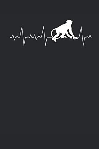 Herzschlag Herzlinie Herzfrequenz Affe: Tier Geschenke für Tiebhaber: Notizbuch DIN A5 I Dotted Punkteraster I 120 Seiten I Geschenkidee Zoologie Zoo Säugetier Primat Schimpanse Bonobo Makake