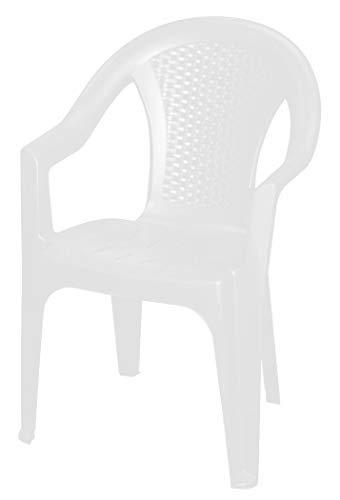 Stapelbarer Gartenstuhl in weiß - Monoblock in Rattan Optik aus Kunststoff - Stapelstuhl Kunststoffstuhl (1 Stück - weiß)