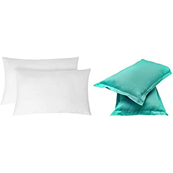 """Amazon Brand - Solimo 2-Piece Ultra Soft Bed Pillow Set - 17 x 27 inches, White and Solid 144 TC 100% Cotton 2 Piece Pillow Covers(Not Pillow), 18""""x 27"""", Turquois Combo"""