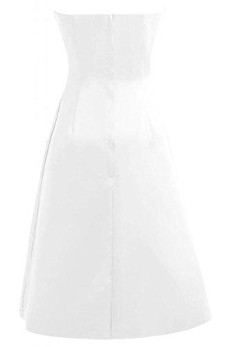 Sunvary una linea Sweetheart Homecoming-Pantaloncini in raso da Cocktail Party Dresses Bianco