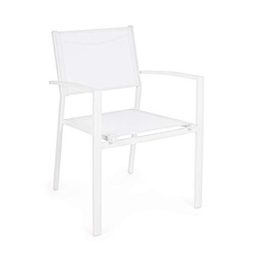 ARREDinITALY Lot de 6 chaises avec accoudoirs empilables pour étendues en Aluminium et textilène Blanc