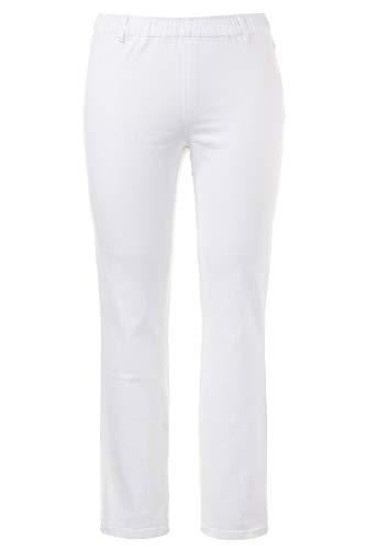 Ulla Popken Damen Jeggings m. Gürtelschlaufen Slim Jeans, Weiß (Weiss 20), 46