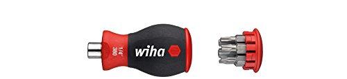"""Wiha Magazin-Bithalter Stubby 3801-03 / Mini Schraubendreher mit 6 Bits im Griff / Schraubenzieher magnetisch mit Torx Bits / 1/4\"""""""