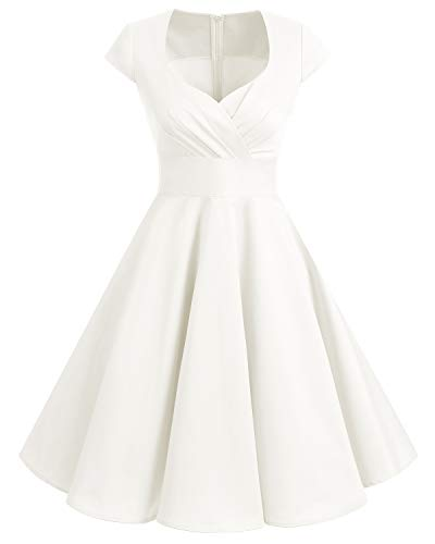 Bbonlinedress Robe Femme de Cocktail Vintage Rockabilly Robe plissée au Genou sans Manches col carré Rétro White M