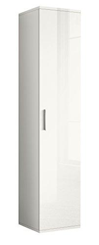 Valentini nettuno colonna 1 anta, legno, bianco laccato lucido, 36x40x178 cm