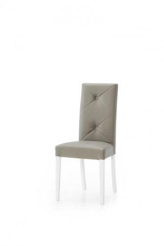 Legno&design set x 2 sedia moderna in ecopelle imbottita color tortora schienale con bottoni