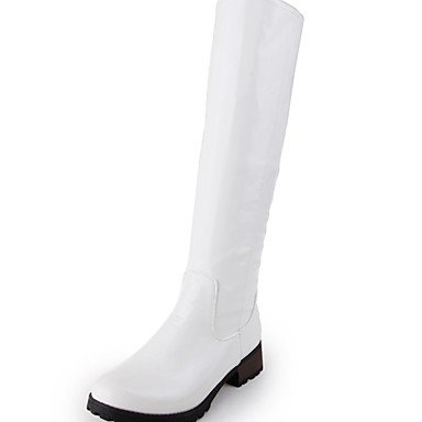 RTRY Chaussures femmes de similicuir PU Automne Hiver bottes bottes mode Nouveauté Confort Talon bout rond bottes fermeture éclair pour partie &AMP; Blanc US5 / EU35 / UK3 / CN34