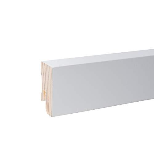 Vierkant Massivholz-Sockelleisten - Weiß lackiert RAL 9010 Höhe 40mm