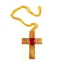 PARTY DISCOUNT NEU Kette mit Kreuz & Rubin, Gold (Kind Papst Kostüm)