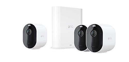 Arlo Pro3 Smart Home 3 kabellose 2K-HDR Überwachungskameras & Sicherheitsalarm, Innen/Außen, Farbnachtsicht, 160 Grad Blickwinkel, WLAN, 2-Wege Audio, Spotlight, Bewegungsmelder, (VMS4340P) - Weiß