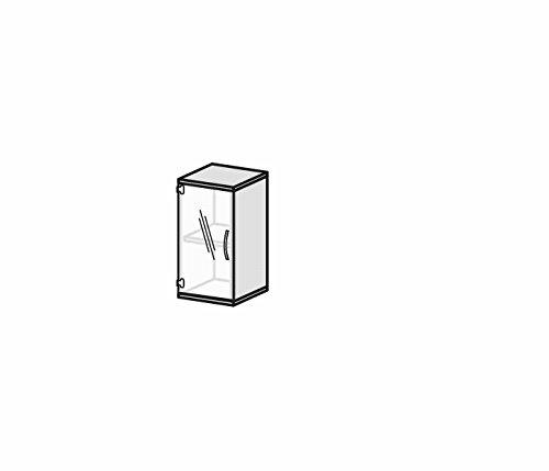 Flügeltürenschrank mit satinierter, rahmenloser Glastür, 1 Dekor-Einlegeboden, nicht abschließbar, Griff rechts, 400x425x768, Ahorn