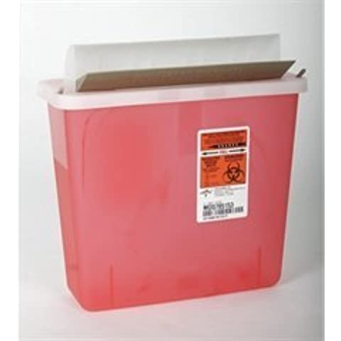 MDS705153 - Biohazard Patient Room Sharps Containers,Red,5 Quart by Medline - Red Sharps Container