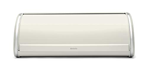 Brabantia White Roll Top Bread Bin Panera Tapa basculante, Acero Inoxidable, Blanco, Normal