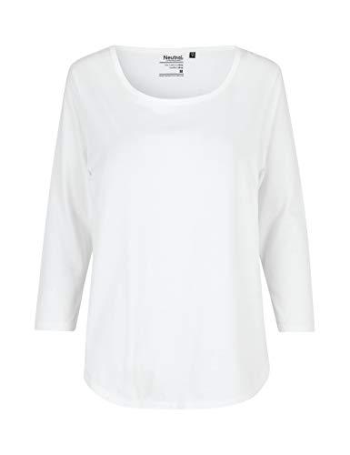 Green Cat- Damen Dreiviertelarm T-Shirt, 100% Bio-Baumwolle. Fairtrade, Oeko-Tex und Ecolabel Zertifiziert, Textilfarbe: Weiss, Gr.: M