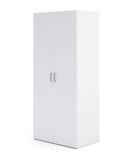 Esidra, armadio bianco doppia anta, 78x49x175cm
