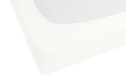 biberna 77144 Jersey-Stretch Spannbetttuch, nach Öko-Tex Standard 100, ca. 90 x 190 cm bis 100 x 200 cm, weiß - 2