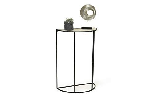 LIFA LIVING Moderner Konsolentisch Halbrund, Beistelltisch aus Metall und MDF-Holz, für Flur, Wohnzimmer, Schlafzimmer, maximal 6 kg Belastbarkeit