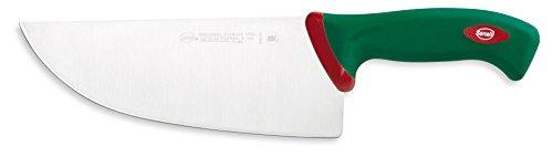 Sanelli Premana Professional Coltello Largo, Acciaio Inossidabile, Verde/Rosso, 34.5x3x8 cm