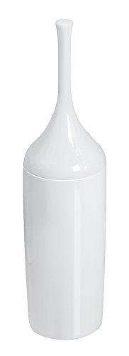 mDesign - Escobilla para inodoro con soporte de plástico; para almacenamiento en el cuarto de baño - Blanco
