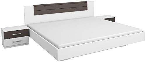 Rauch Bett 160x200 inklusive 2 Nachttischen, Weiß Alpin, Absetzung Lavagrau, Stellmaß inkl. Nachttischen LxBxH 206x265x85 cm
