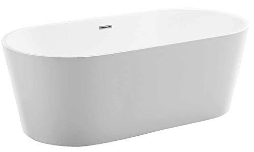 Freistehende Badewanne MIO aus Acryl weiß - Größe und Standarmatur wählbar, Standarmatur:Ohne Standarmatur, Siphon:Inkl. Siphon, Größen:160 x 75 cm