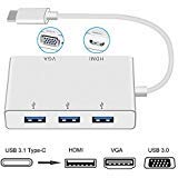USB 3.1 Typ C auf 4K HDMI /VGA/3 x USB 3.1 Adapter, Weton 5 in 1 USB C HUB Adapter (Thunderbolt 3 Compatible) USB C HDMI Digital AV Multi-port Video Adapter für MacBook,Chromebook Pixel - 4-port-dvi-digital-video