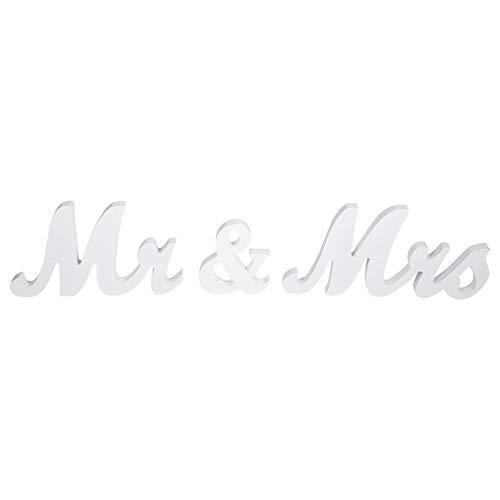 FTVOGUE Vintage MR & Mrs Hochzeit Holz Buchstaben Schild aus Holz Ständer Board Home Party Tisch Deko Geschenk weiß (Mr Und Mrs Hochzeit Tisch Zeichen)