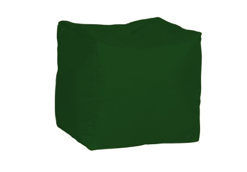 Bonkers Polyester Stool Bean Bag Water Resistant with Flakes Filling, 40 x 40 x 40 cm, 1-Piece, Dark Green