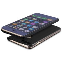 BCIT iPhone 7 Plus Spiegel Hülle - ultradünnen lichtdurchlässigen Spiegel für intelligente Abdeckung,PU Premium Lederhülle Hülle mit Standfunktion Flip Case Schale Etui für iPhone 7 Plus - Gold Schwarz