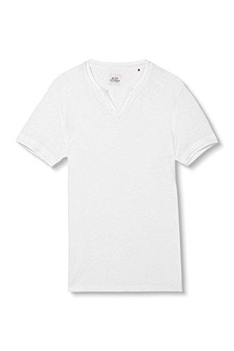 edc by ESPRIT Herren T-Shirt 996cc2k906 - 2 in 1 Optik - Slim Fit Weiß (White 100)