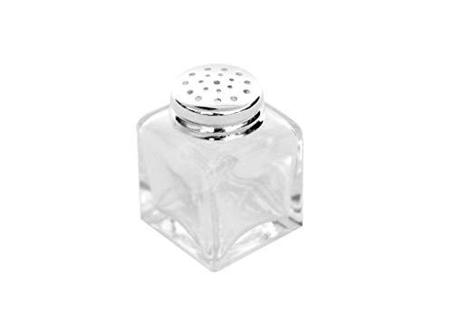 Brillibrum Design Mini Gewürzstreuer Eckig Glas Feinsilber Silber Salzstreuer Pfefferstreuer Streuer Gewürz Salz Pfeffer Kristall Silber Salz