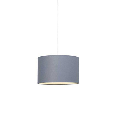 Brilliant Clarie Pendelleuchte 40cm Textilschirm grau, 1x E27 geeignet für Normallampen bis max. 60W
