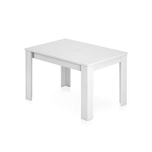 Habitdesign 004586BO - Mesa de comedor extensible de 140 a 190 cm, 90 ancho x 140/190 largo, 78 cm altura, madera contrachapada, rectangular, color blanco brillo