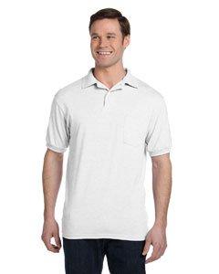 Hanes Men's Cotton-Blend EcoSmart Jersey Polo with Pocket-2XL-White -