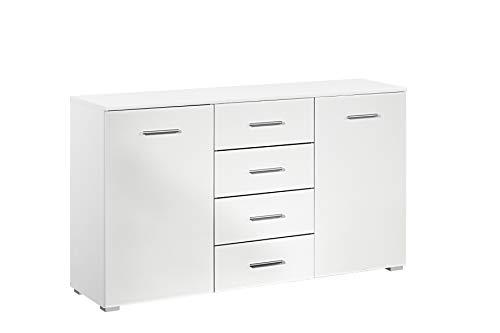 Rauch Möbel Flexx Schlafzimmer Kommode,  Kommode 2-Türik mit 4 Schubladen in Weiß, BxHxT 140 x 81 x 42 cm