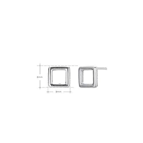 Quadratische Ohrstecker aus 925er Sterlingsilber, einfache und süße Stil, für den Außenbereich Einheitsgröße E1