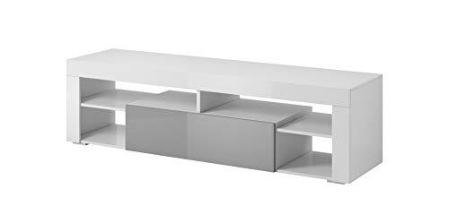 E-com Titan Meuble de TV Bas, 140 cm, Blanc/Gris