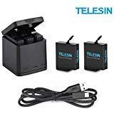 TELESIN Triple Batterieladegerät Set Ladebox + 2 Akkus mit USB Typ-C Kabel 3 in 1 Zubehörset für GoPro Hero 6/Hero 5 (3 in1 C